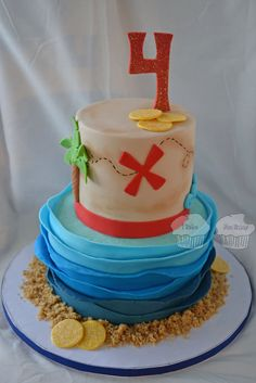 Pirate Map and Waves Cake