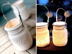 Put citronella candles in white mason jars to keep the bugs away...great for our deck! love mason jars