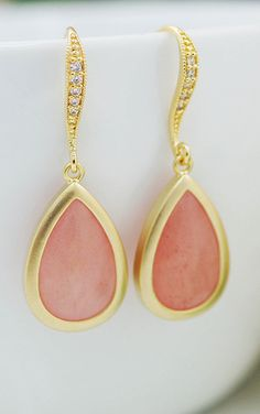 Pink Jade drop earrings available at Earrings Nation- perfect for your bridesmaids http://www.earringsnation.com/bridal-jewelry/baby-pink-jade-drop-earrings#.UweYg0JdVg8 earring nation, drop earring