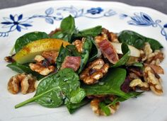 Spinach, pear, walnut, and bacon with a nice lemon honey dressing. It were delicious. (It was supposed to be with watercress, but damn the watercress was way too pungent! So I abandoned it.)    (Photo by Chris Fjelde)
