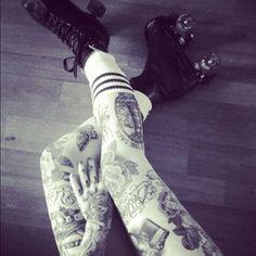 roller skate, woman leg tattoo, roller derbi, female tattoos, roller derby, tattoo models