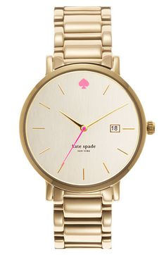 gold and pink watch