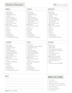 Free printable house cleaning checklist, organized by days