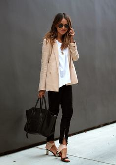 Nude blazer and black