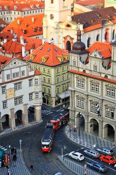 Riding through Prague