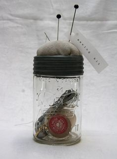 sewing kit in vintage mason jar