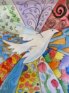 Project inspired by Picasso's Peace Dove--love the patterns.  Could use as a color wheel and then pattern