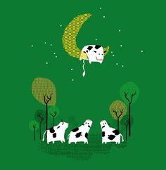 Happy cows at night