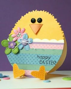 Love love love this sweet little chick!  He has heart-shaped accordion feet!  The pastel colors are perfect, as are the embossed flowers with buttons.  Handmade Easter card.