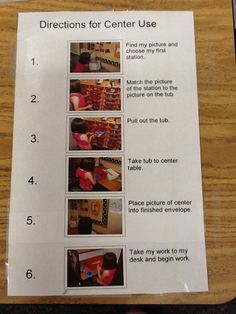after procedural writing lesson and the teacher makes a model one for centers, students could create this for procedures in school. then turn into  a book for subs. would also be great to cut up and practice sequencing