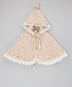 Take a look at this Beige Minky Swirl Reversible Cape - Infant by Sweet Charlotte on #zulily today!