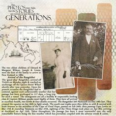 Generations...striking heritage digi page with a map, vintage documents and in-depth genealogical journaling. Love the chicken wire effect!