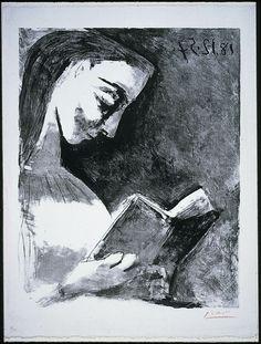 jacquelin lisant, 17 14, lisant jacquelin, art, picasso jacquelin, jacquelin read, pablo picasso, 438, 1957 lithograph