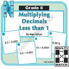 Multi-Match Game Cards 6N: Multiplying Decimals Less than 1 from K-8 MathPaths on TeachersNotebook.com -  (9 pages)  - This set of printable cards will help students with multiplication of decimals, called for by Common Core standard 6.NS.3. These are great for math centers!