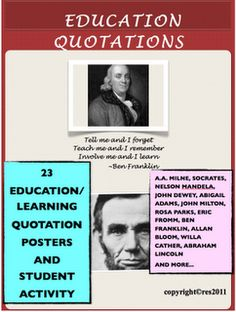 #Education Education Quotations Posters and Activities     If you like this pin, re-pin or like it :)   http://subjectbase.com