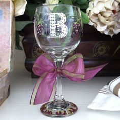 DIY handpainted wine glass with bedazzled 'B' for a friend