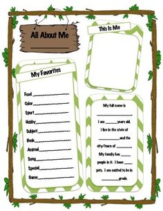 All About Me- Camping Theme
