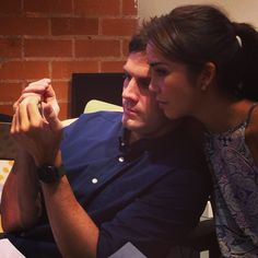 Joanna and Brent watching Knighthouse fan videos on YouTube. SO MUCH LOVE IN THIS PICTURE.