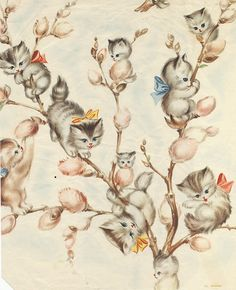 Vintage wrapping paper -  Kitties and Pussy Willows