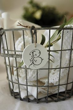 clay, french monogram, holiday ornaments, laundry rooms, salt dough, gift tags, wire baskets, sparrow, linen
