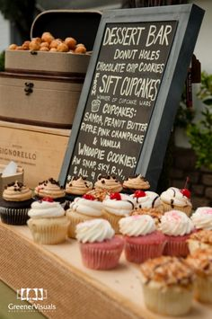 Love the use of crates and chalkboard.  Maybe crates turned over and tiered (2 or 3) with cupcakes on them would be cute for chocolate cupcakes as another dessert since my groom does not want a groom's cake. :)