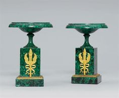 A PAIR OF ORMOLU-MOUNTED MALACHITE TAZZAS RUSSIA, PROBABLY LATE 19TH CENTURY