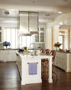 interior, heart pine floors, island design, dream, hous idea, place, open kitchens, antiqu, white kitchens