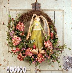Country Bunny Silk Wreath For Doors