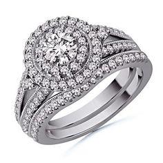 Angara.com: Round Diamond Wedding Ring Set