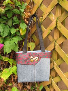 Purse Holiday Sale Upcycled Denim Tote by daringmisslassiter