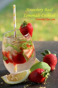 Stawberry Basil Lemonade Cocktail