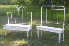 New life for old metal beds...everyone needs one! metal bed bench, foot board benches, bed frames, bed headboards, metal beds, garden, metal head boards, storage benches