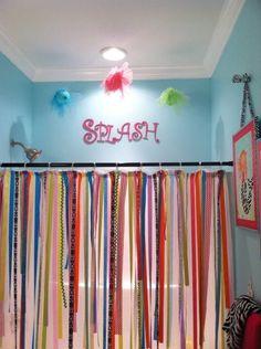 ribbon shower curtain, polka dots, color, bathrooms decor, bedroom curtains, shower curtains, little girl bathroom, kids bath, kid bathrooms