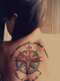 "I want a compass    Dark Art Tattoo, Budapest, Hungary  The quote in english: ""There are places around the world calling your name. Be brave, go and experience them."""