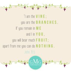Apart from me, you can do nothing. So true. I bear fruit when I remain in Him.