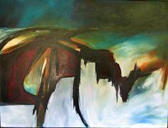 Modern, abstract art 48X36 in custom frame. http://www.JaneRobinsonAbstractArt.com