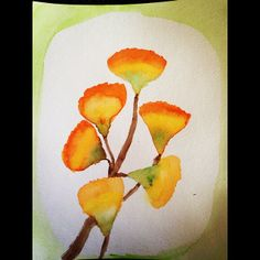 Watercolor of Gingko leaves by Wilson, age 10. Waldorf homeschooling botany block: gymnosperms. www.syrendell.blogspot.com
