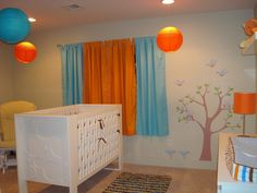 Orange and blue baby room inspiration