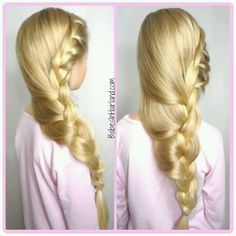 Loose French braid to look like Elsa from Frozen.  www.BabesInHairland.com #frozen #Elsa #frenchbraid #blond #hairstyle