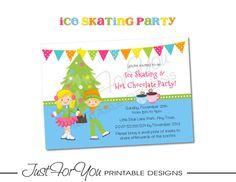 Ice Skating Hot Chocolate Party - Custom Printable Birthday Invitation by 4UPrintableDesigns on Etsy