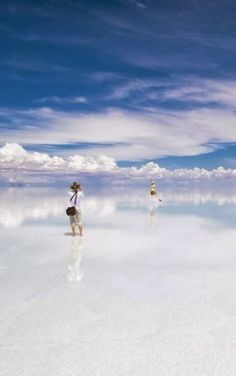Salar de Uyuni is a magical place. When covered by water, the world's largest salt flat becomes a mirror, and anyone walking across it appears to be walking on clouds. The salt crust, which covers 4,086 square miles in southwestern Bolivia at 11,995 feet above sea level, is nearly flat, which makes it ideal for calibrating the altimeters of satellites.