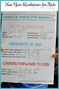 New Year Highlights & Resolutions Printable for Kids {2013}