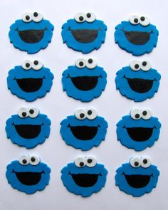 Fondant Cupcake Toppers  Cookie Monster Inspired by TopItCupcakes, $16.99