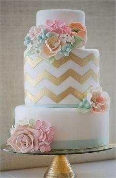 aqua and gold chevron wedding cake