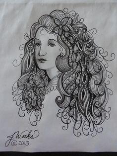 girl w/zentangled hair #1  jweekszentangles.blogspot.com