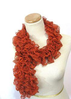Tangerine Hand Knit Ruffled Scarf  Orange by ArlenesBoutique, $40.00