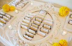 card display, idea, escort cards, place cards, seating cards, vintage frames, picture frames, table numbers, seating charts
