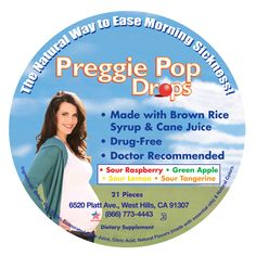 Preggie Pop Drops Candy for Morning Sickness. Made with brown rice syrup & cane juice.