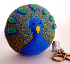 Handmade Pincushion Peacock brilliant blue olive green embroidered handsewn recycled felt made to order