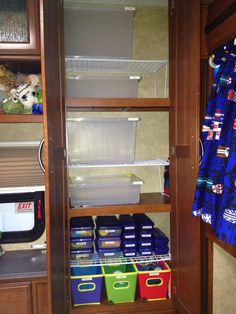 This is how I organized my boys' bunkhouse in the RV. There are no hanger bars and I learned that a hanger won't even fit, so I had to use labeled plastic bins for clothes organization and storage.